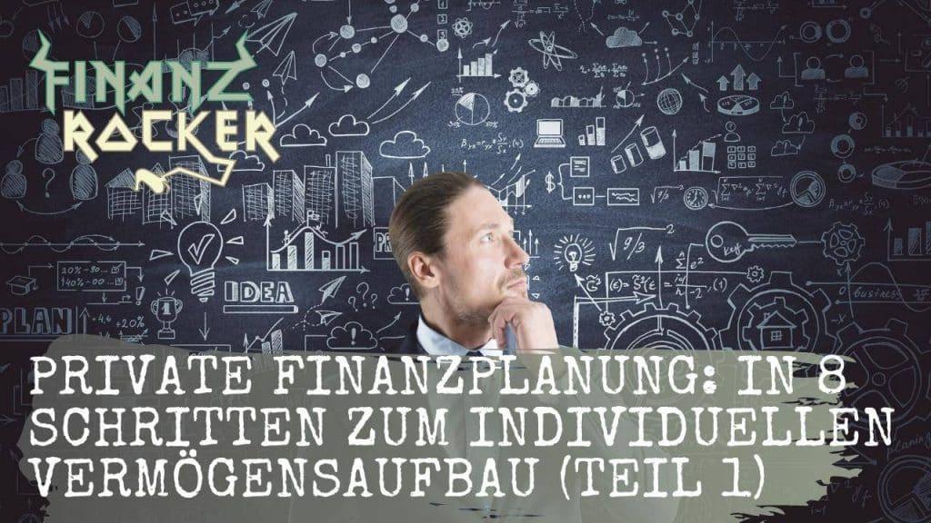 Private Finanzplanung - Überlegender Mann vor Tafel mit Finanz-Grafiken