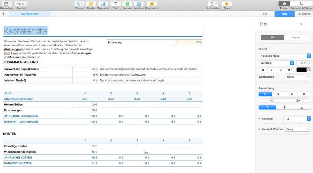 Beispiel für den Kapitalrenditerechner von Numbers.