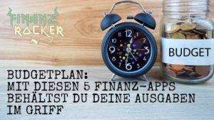Budgetplan durch Finanz-Apps - Bild von Wecker und Glas mit Münzen auf Holz Untergrund
