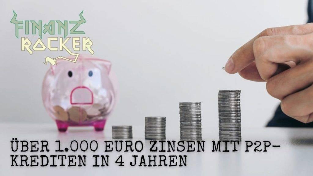 Zinsen durch P2P-Kredite - Bild von Sparschwein und Münzstapel