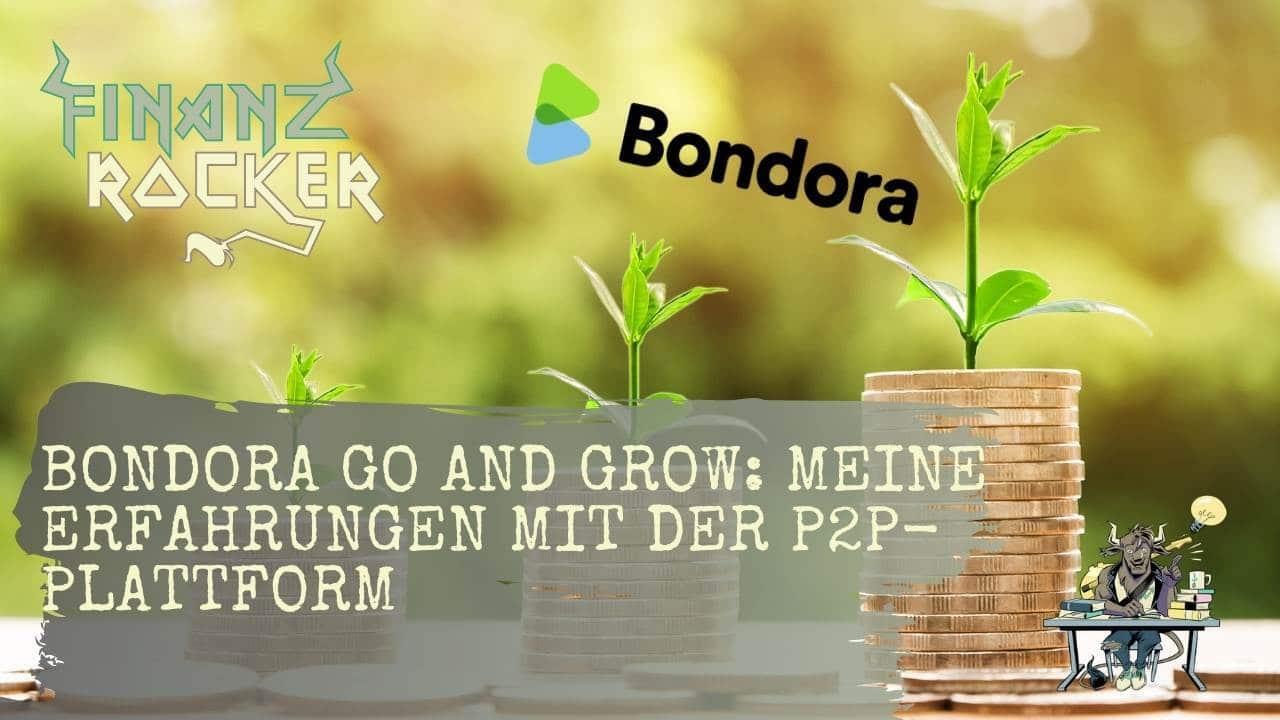Bondora Go and Grow - Bild von Geldmünzen als Stapel mit Pflanzen und grünem Hintergrund